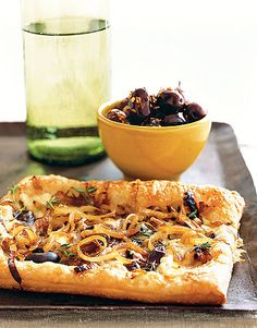 Caramelized-Onion and Gruyère Tart  This delicious dish is easy to make ahead and freeze, leaving you plenty of time to spend with your guests.    Recipe: Caramelized-Onion and Gruyère Tart