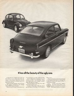 "1966 VOLKSWAGEN FASTBACK vintage magazine advertisement ""all the beauty of the ugly one"" ~ Volkswagen of America, Inc. - It has all the beauty of the ugly one. - A beautiful air-cooled motor that you don't have to worry about all winter, because it ..."