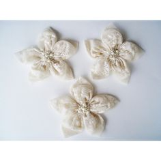 CreamTextured Tulle Flowers Handmade Appliques by BizimSupplies ($12) via Polyvore