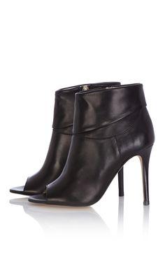 Cuffed leather shoe boot | Luxury Women's footwear | Karen Millen