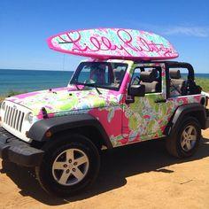 Prep My Ride - Lilly Pulitzer Preppy Jeep Surf Board - pursuit-of-preppiness: My future car Mamma Mia, Jdm, Jeep Carros, Nissan, Estilo Preppy, Preppy Girl, Preppy Casual, Preppy Style, Girly