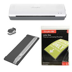 Save on Swingline Lamination Starter Kit Inspire Laminator Pouches Trimmer Mini Hole Punch Included (1701869ECR) and more