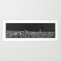 Skyline of Treviso black Art Print Promoters - $13.73