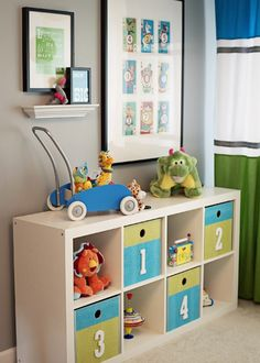 I already having the shelving unit for the babies clothes, diapers, and a changing pad in top. This is a great idea for when he gets a little older.