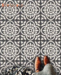 tiles Moroccan Encaustic Moroccan Tile Wall Stair Floor Self Adhesive Vinyl Stickers,Kitchen Bathroom Backsplash Carrelage Decal, Peel & Stick Home Decor Linoleum Flooring, Vinyl Flooring, Bathroom Flooring, Bathroom Art, Basement Bathroom, Moroccan Kitchen, Moroccan Tiles, Moroccan Bathroom, Moroccan Decor