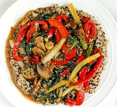 MIX IT UP: Scrumptious and Healthy Bok Choy Recipes: Quinoa and Bok Choy Veggie Stir Fry with sliced red pepper, fresh ginger, mushrooms, asparagus and sesame seeds.