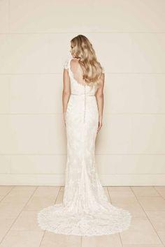 Open Back Ivory Cap Sleeve Sheath Lace Long Wedding Dress Dresses Dressses