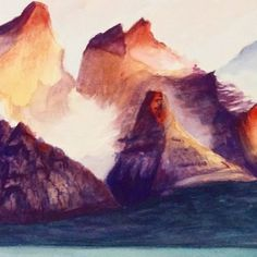 Work in progress soon  #mountains #watercolor #outdoors #paintings #colormix