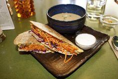 The Coup Restaurant – Falafel Quesadillas - Healthy Dine Out Healthy Menu, Healthy Drinks, Healthy Recipes, Healthy Quesadilla, Food Reviews, Quesadillas, Falafel, Food Items, Quesadilla