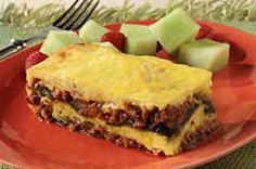 Layered Chile Casserole recipe --- can substitute ground beef for chirizo and use picante sauce instead od the other!!
