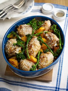 One-Pan Roast Lunch with Sesame-Lemon Chicken, Tenderstem and Butternut Squash Recipe : Food Network UK Oven Dishes Recipes, Meat Recipes, Food Dishes, Chicken Recipes, Cooking Recipes, Healthy Recipes, Turkey Recipes, Recipies, Pan Cooking