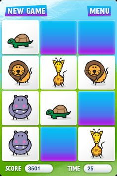 Matches ($0.00) Match up pairs of cards with the same image to test your memory! Matches is full of fun sounds and colorful illustrations of animals, transport, numbers and letters. Three different difficulty levels will keep kids entertained and adults challenged.
