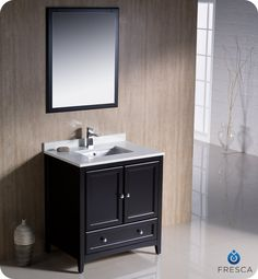 "Oxford 30"" Traditional Bathroom Vanity Espresso Finish"
