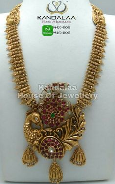 Gold long necklace Gold hara with big peacock pendant with mango shape studded with rubies best for small occasions. India Jewelry, Gold Jewelry, Jewelery, Gold Necklace, Fashion Jewelry, Gold Fashion, Fashion Necklace, Necklace Designs, Gold Pendant