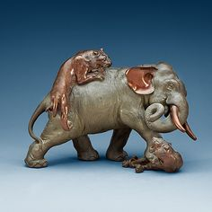 A large Japanese bronze sculpture of an elephant attacked by tigers, with seal mark, Meiji, circa - Bukowskis Hindu Statues, Sculptures, Lion Sculpture, Oriental Design, Picture Collection, Bronze Sculpture, Animal Drawings, Wood Carving, Tigers