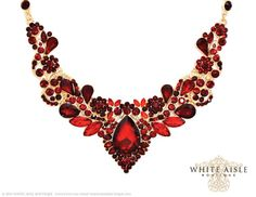 Red Crystal Wedding Jewelry Set Vintage by WhiteAisleBoutique