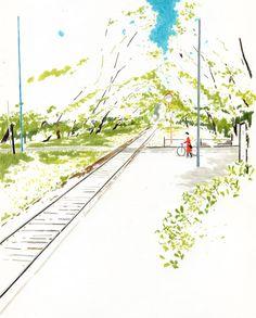 By Danny Illustration Landscape Drawings, Cool Landscapes, Landscape Art, Art Drawings, Simple Illustration, Graphic Design Illustration, Watercolor Illustration, Sketchbook Inspiration, Pastel Art