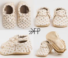 gold polka dot baby shoes from Freshly Picked.