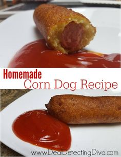 How to Make Homemade Corn Dogs-Love corn dogs? Have you tried making your own? Here is a must-try homemade corn dog recipe, and cheaper than store bought. Corn Dogs, Gourmet Recipes, Cooking Recipes, Beef Recipes, Yummy Recipes, Cooking Tips, Corndog Recipe, Frugal Meals, Recipes