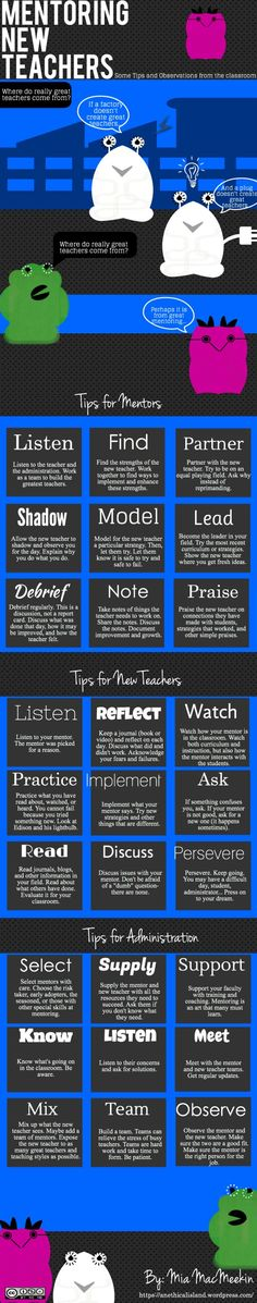 Mentoring tips for new teachers, mentors and administrators.