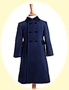 Classic coat for girls or boys in pure wool in size 12 months to 10 years from Childrens Coats, Girls Winter Coats, 100 Pure, Wool Coat, 12 Months, 10 Years, Collars, Size 12, Ivory