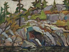 Image from http://www.whitepinepictures.com/wp-content/gallery/spirit-land-slideshow/15-rock-pine-and-sunlight-arthur-lismer-1922.jpg.