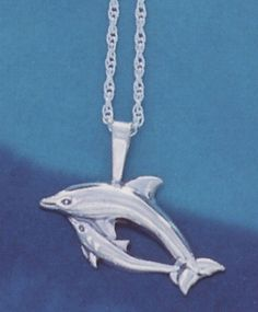 Dolphin and Baby Sterling Silver Pendant Necklace