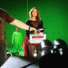 """""""Fly mode. The dude in green is our stunt rigger Mark. It's cool, he's legit :) @melissabenoist @supergirlofficial #supergirl"""""""