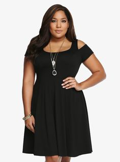 Cold Shoulder Cut-Out Skater Dress From the Plus Size Fashion Community at www.VintageandCurvy.com