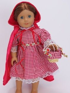 """Little Red Riding Hood 3-pc Costume Fits 18"""" American Girl Dolls"""
