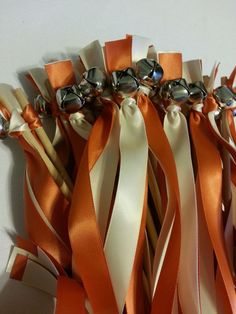100 Wedding Wand Bell Streamers ~  Copper & Ivory   ~ Choose Colors  #DivinityBraid