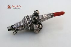 Fancy Baby Rattle and Whistle Sterling Silver Coral 1880