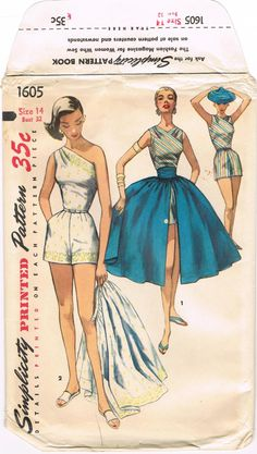 1940s Shorts with Over Skirt Simplicity 1605 Vintage Sewing Pattern Bare Shoulder Pleated Skirt Bust 32 UNCUT Pin Up Style Resort Wear.