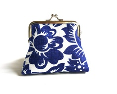 Cobalt blue and white clutch linen purse crisp floral by maplemist, $15.99