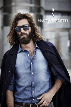 <3 The hair, the impeccable full beard climbing up his face, chest hair. He's escaped the paddock and gone wild stallion. Ummmh.  Primavera / Estate 2013Spring / Summer 2013 | Mastai Ferretti