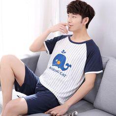 60bb786037 yidanna 2018 men pajamas set short sleeved male sleep clothing sleepwear  plus size cotton nightwear nighties summer pants+shirt