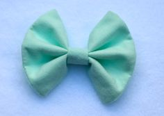 Handmade hair bow  mint green flannel with by TheSweetBeanBoutique, $6.00