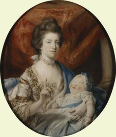 repinned: Francis Cotes, Queen Charlotte with Charlotte, Princess Royal | The Royal Collection /whereas in Cotes's sketch, the Queen has her hand up to motion the Duchess of Ancaster to be silent, here in this more intimate oval portrait, the Queen appears to address the viewer.