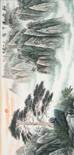 39 ideas chinese landscape design ink paintings for 2019 Landscape Curbing, Asian Landscape, Modern Landscape Design, Green Landscape, Winter Landscape, Landscape Art, Chinese Painting Flowers, Chinese Landscape Painting, Chinese Mountains