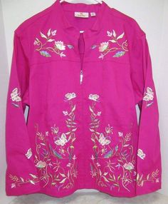 Quacker Factory Jacket Sz 2X Magenta Beads Sequins Floral Artsy Spring Plus #QuackerFactory #Jacket #Casual