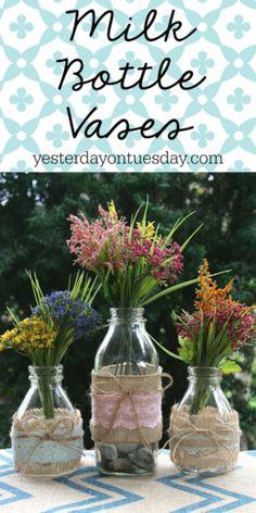 Milk Bottle Vases ~ an inexpensive way to display garden flowers