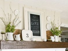 Decorate your fireplace mantel with these gorgeous spring accents and captivate everyone who walks in. #fall #mantle #decorations