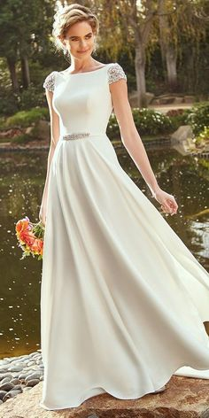 30 Cute Modest Wedding Dresses To Inspire ? modest wedding dresses a line with cap sleeves kittychencouture Modest Wedding Gowns, Dream Wedding Dresses, Designer Wedding Dresses, Mormon Wedding Dresses, Bridal Outfits, Bridal Dresses, Wedding Gown Gallery, Allure Bridal, The Dress