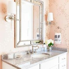 Gold and Pink Botanical Wallpaper in White and Gray Powder Room