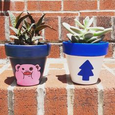 Gravity Falls pots I painted for my new plants!