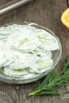 Quick and easy creamy cucumber salad with fresh chives and dill. Recipe for two, ready in less than 10 minutes Side Dishes For Bbq, Side Dish Recipes, Veggie Recipes, Salad Recipes, Snack Recipes, Cooking Recipes, Snacks, Creamy Cucumber Salad, Creamy Cucumbers