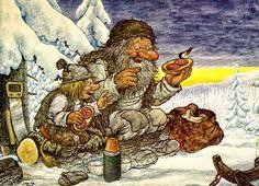 Rolf Lidberg trolls in the snow.