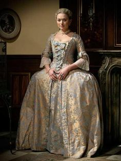 Gown fabric blue pattern on gold background; Underskirt reversed fabric pattern - gold pattern on blue background 18th Century Dress, 18th Century Costume, 18th Century Clothing, 18th Century Fashion, Historical Costume, Historical Clothing, Doctor Who Outfits, Sophia Myles, Vintage Outfits