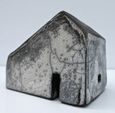 Rowena Brown. ceramic house D raku fired