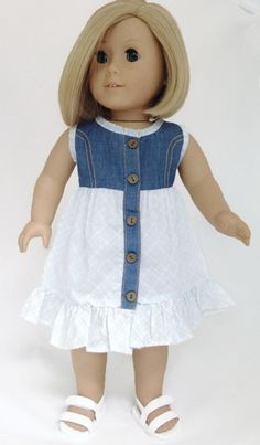 Denim & Cotton Sleeveless Dress made for American Girl Doll Clothes Ropa American Girl, My American Girl Doll, American Doll Clothes, Sewing Doll Clothes, Girl Doll Clothes, Girl Dolls, Kids Dress Patterns, Doll Patterns, Baby Dress Design